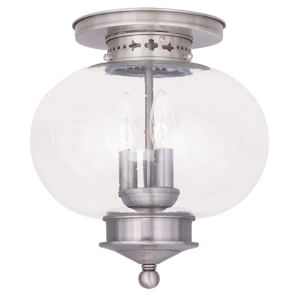 Indoor Ceiling Lights: Brushed Nickel Livex Harbor 3 Light Indoor Outdoor Ceiling