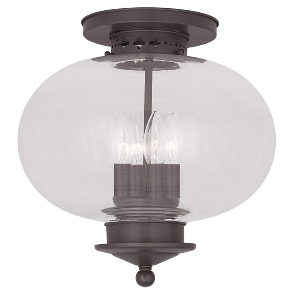 Light Fixture Base: 4 Light Bronze Livex Harbor Indoor Outdoor Semi Flush
