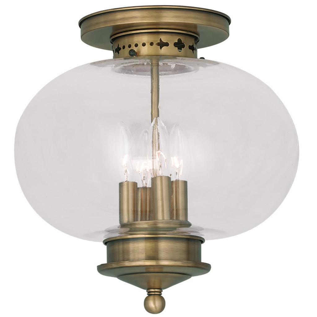 Light Fixture Base: Antique Brass 4 Light Livex Harbor Semi Flush Ceiling