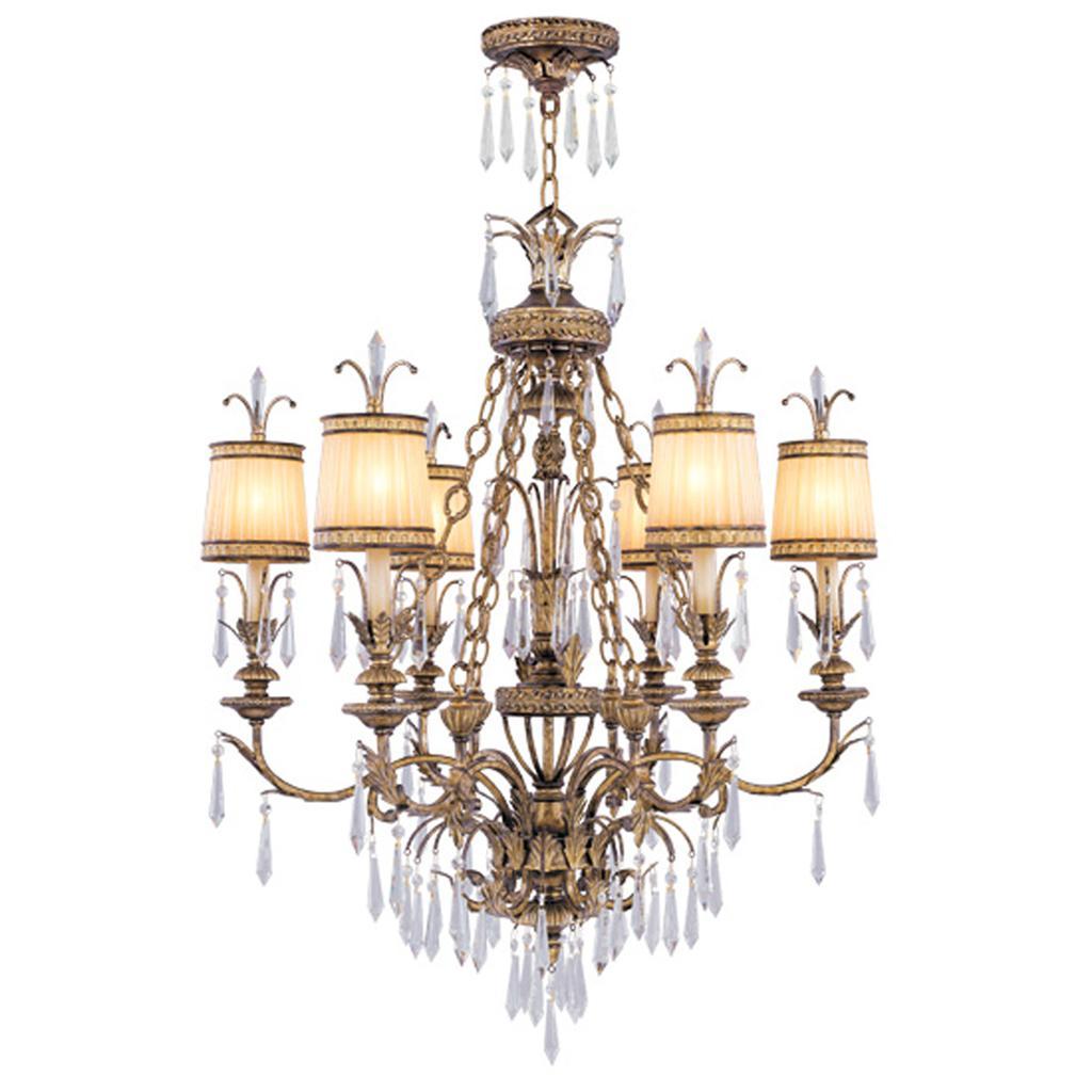 Bella Flushmount Chandelier: Livex La Bella 6 Light Atrium Vintage Gold Chandelier
