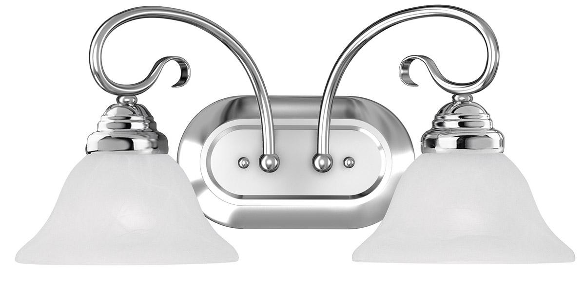 Chrome Bath Lighting Fixtures: Coronado Chrome 2 Light Livex Wall Sconce Bath Vanity