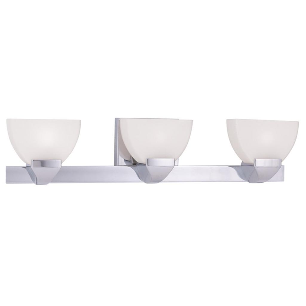 Gemini livex chrome 3 light bathroom vanity lighting - Chrome bathroom lighting fixtures ...