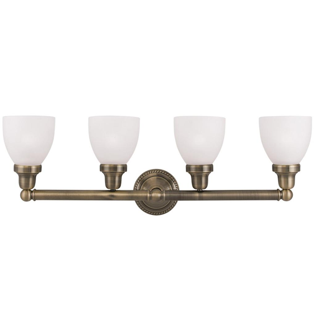 Livex Antique Brass 4 Light Classic Bath Vanity Discount