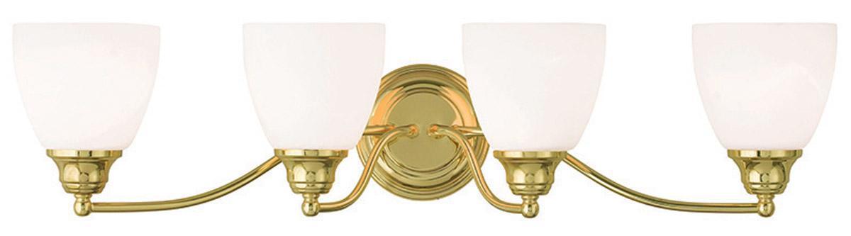 Somerville polished brass livex 4 light bathroom vanity - Polished brass bathroom lighting fixtures ...