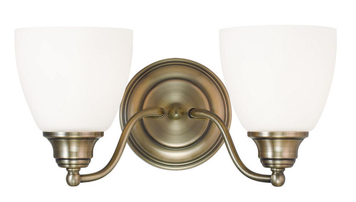 Antique Brass Somerville Livex 2 Light Bathroom Vanity