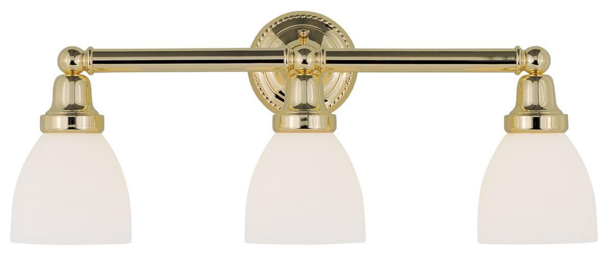 Polished brass livex 3 l classic bathroom vanity lighting - Polished brass bathroom lighting fixtures ...
