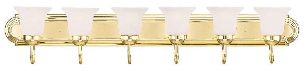 6 light livex polished brass home basics bathroom vanity - Polished brass bathroom lighting fixtures ...