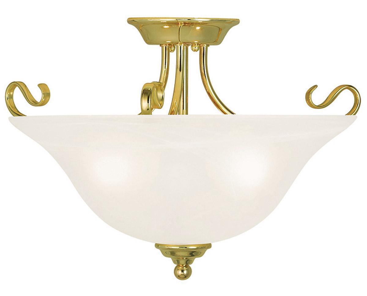 Semi Flush Ceiling Lights Glass Brass Fixture Bathroom: Coronado 3 Light Livex Polished Brass Semi Flush Ceiling