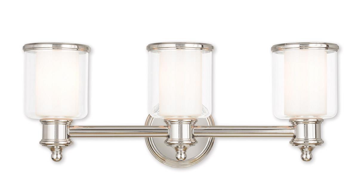 3 Light Polished Nickel Livex Middlebush Bathroom Vanity