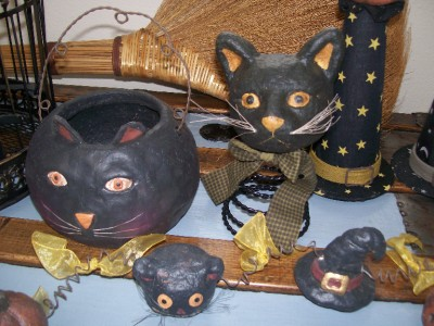 nwt black cat head on black witch hat rustic paper mache