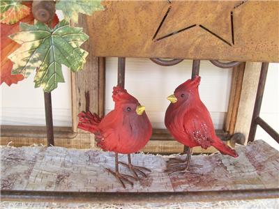 Set 2 Nwt 4 Rustic Red Cardinal Bird Faux Wood Fall