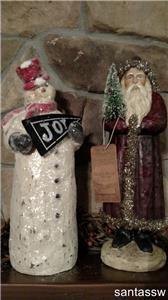 "NIB 14/"" Mica Ice JOY Banner Retro Frosty SNOWMAN Christmas Figurine Decor RAGON"