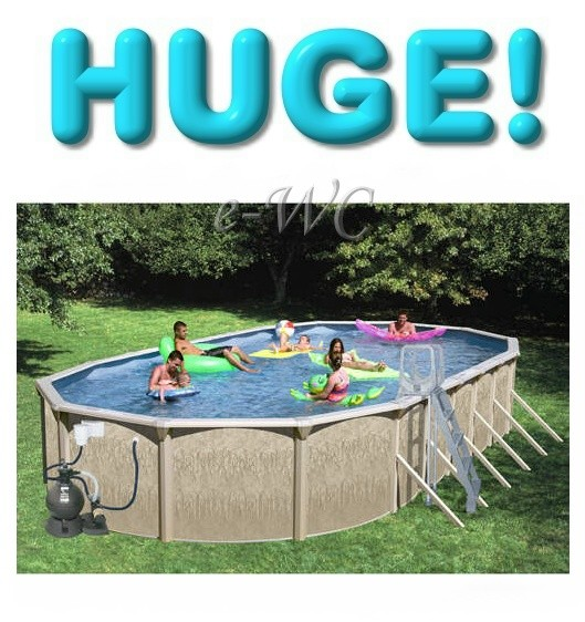 33 L X 18 W Oval Above Ground Swimming Pool Package Ebay