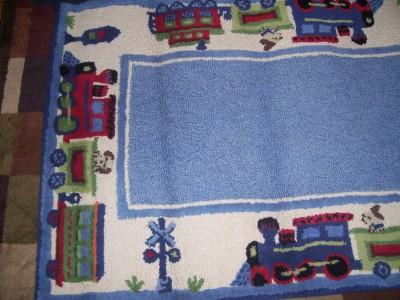 Pottery Barn Kids Puppy Dog Train Floor Rug 62x36 Rare And