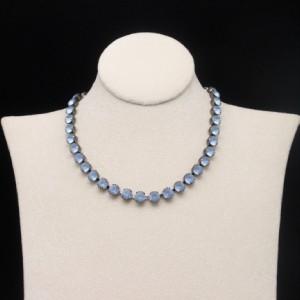 blue satin gass rhinestone necklace gun metal