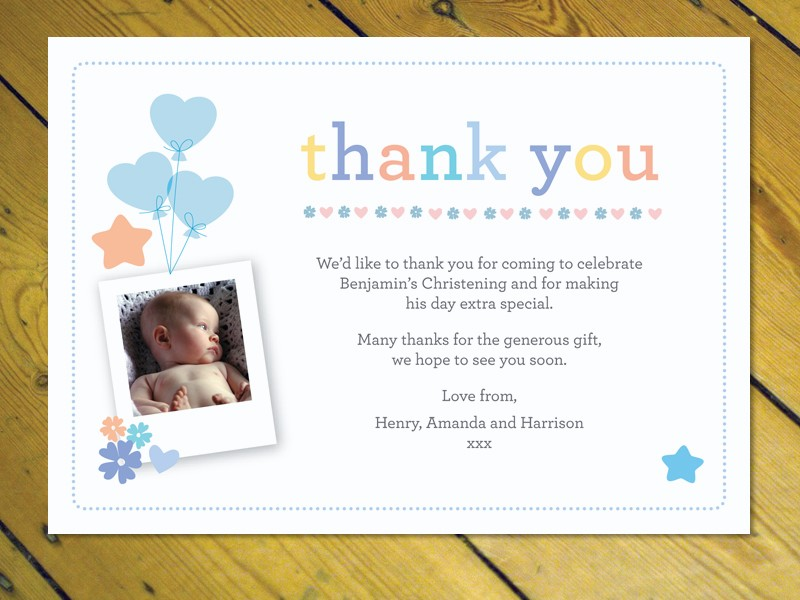 Personalised Thank You Cards Notes Naming Day Christening