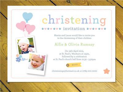 10 Personalised Boys Christening Baptism Naming Day PHOTO Invitations N118