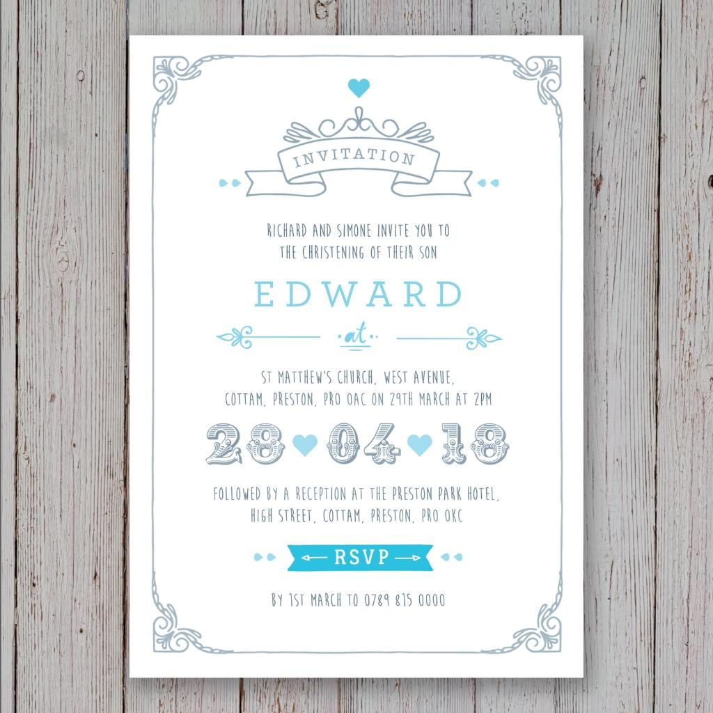 personalised christening invitations baptism birthday invites boy