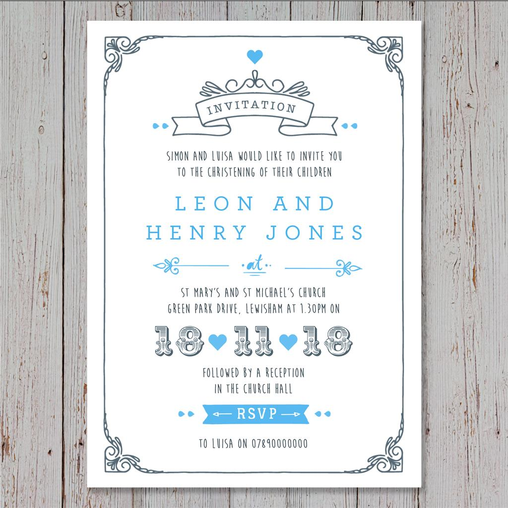 Personalised joint Christening Invitations Baptism Birthday invites