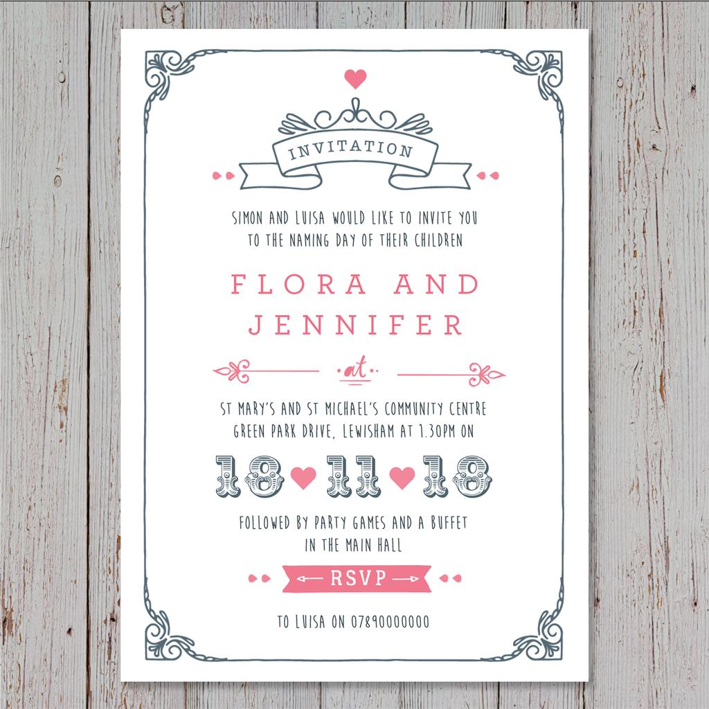Personalised joint Christening Invitations Baptism Birthday invites ...
