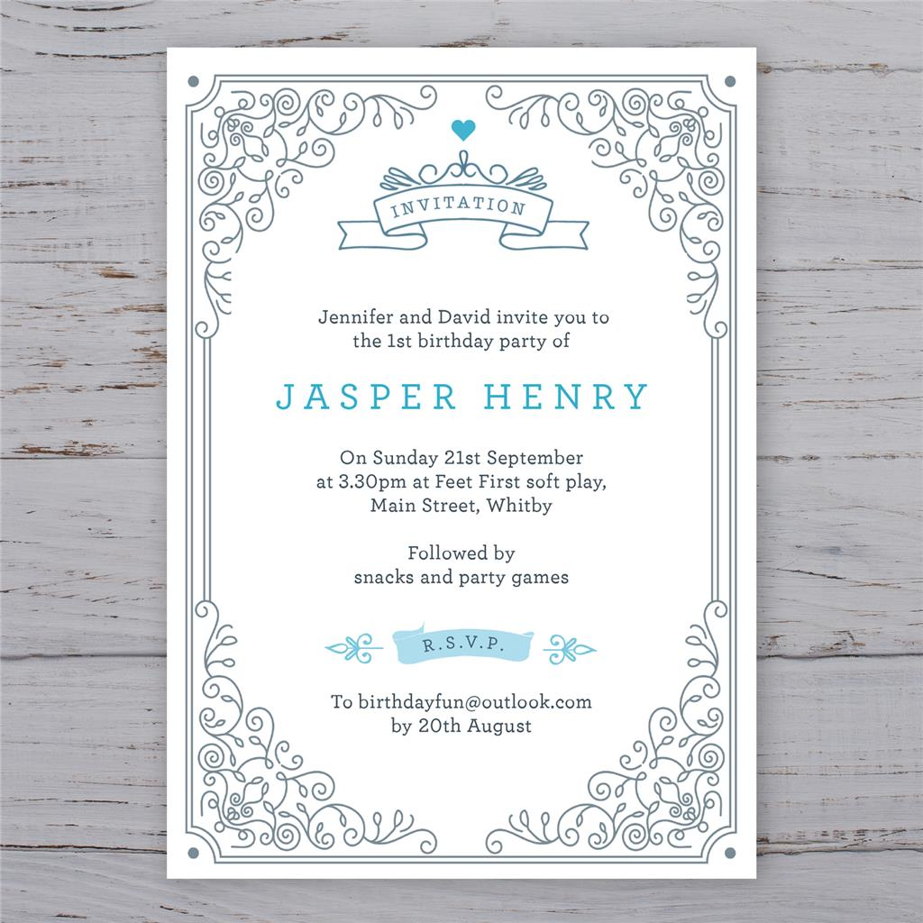 Personalised Christening Invitations Baptism Birthday invites boy ...