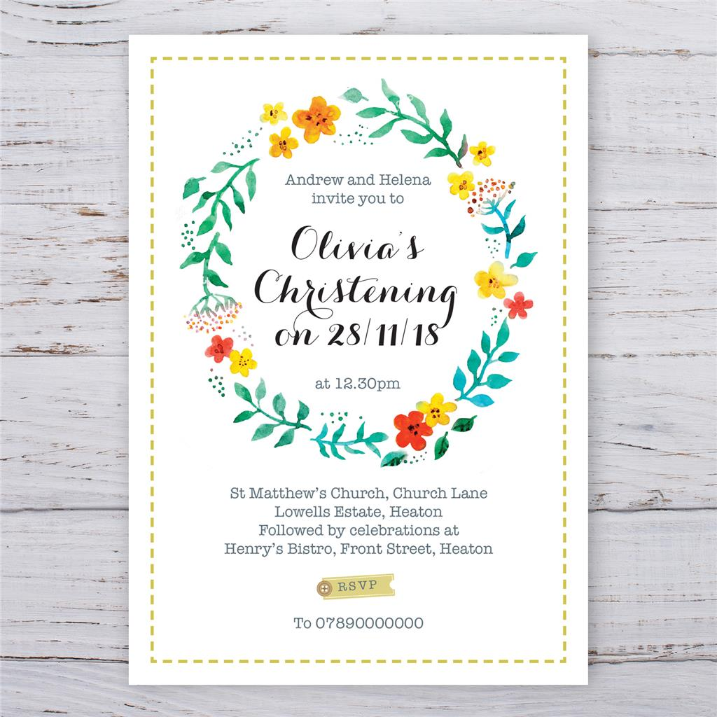 Personalised Christening Baptism Party Birthday Invitations Boy or ...