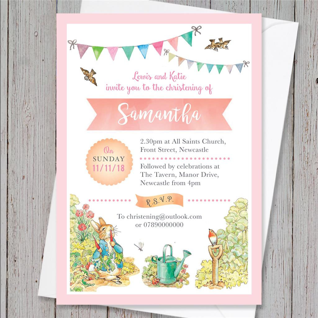 10 Personalised Peter Rabbit Christening Baptism Naming Day Invites ...