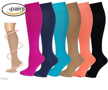 d65b48caaee 6 Pairs Women Different Touch Graduated Compression Knee High Socks 9-11