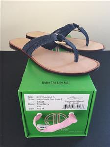 1c175e173 NIB  138 LILLY PULITZER Navy MCKIM SANDALS 6.5 M Leather Shoes 6-1 2 New  SALE