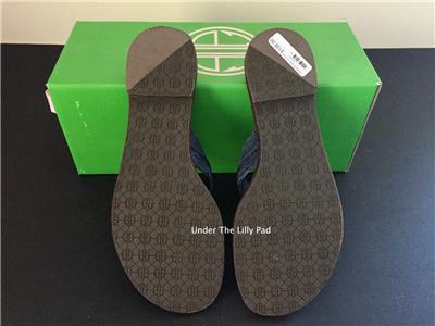 009df1c0f NIB  138 LILLY PULITZER Navy MCKIM SANDALS 6.5 M Leather Shoes 6-1 2 ...