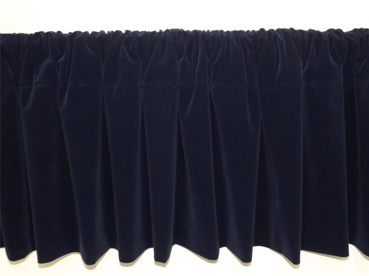 Window Treatment Navy Blue Rod Pocket Curtain Topper ...