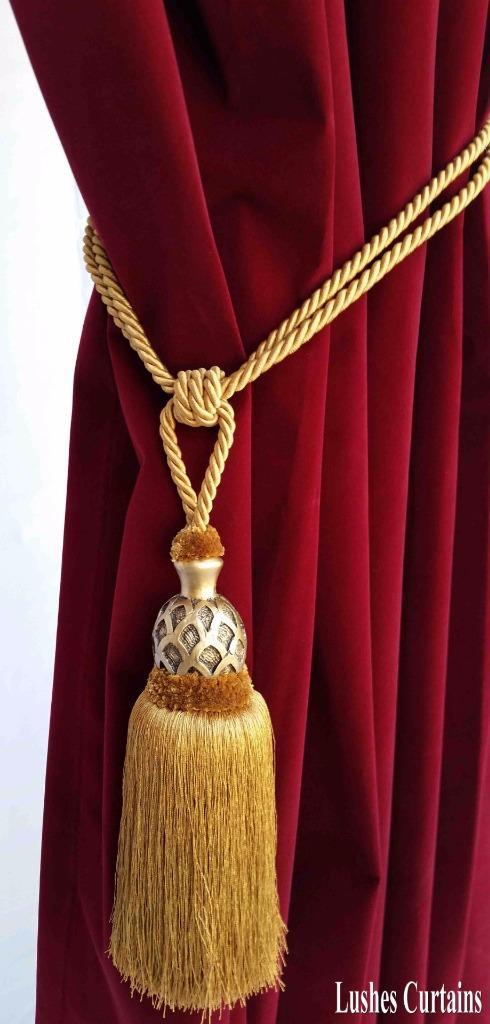 Gold Decorative Window Curtain Drapery Wood Tassel Rope