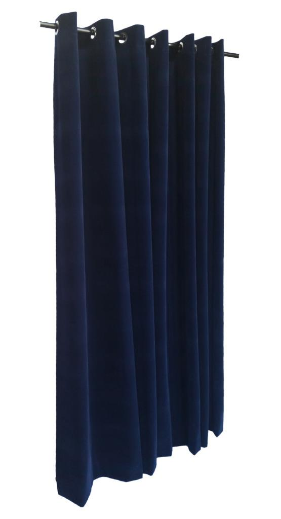 navy blue 120 inch h velvet curtain panel w grommet top eyelets window drapery. Black Bedroom Furniture Sets. Home Design Ideas