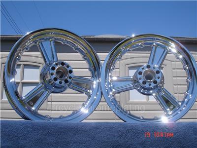 Harley Chrome Detonator 3 Spoke Wheels Touring Ultra Road King Electra Street