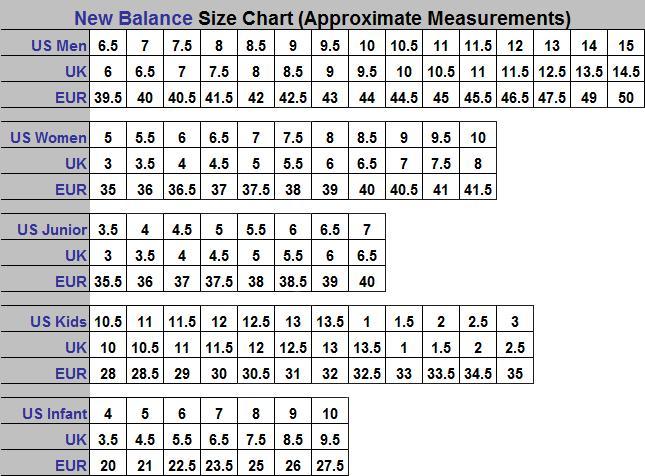 new balance toddler girl size chart