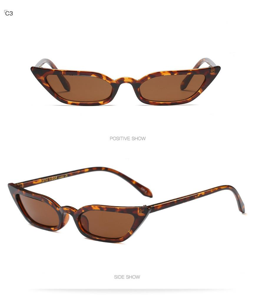 ed53441d35 Cat Eye Narrow Small Size Women Leaf Shape Frame Sunglasses Designer 97570
