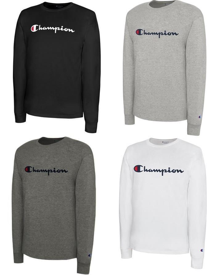 e85daff5 CHAMPION Long Sleeve CLASSIC Script Logo Crew Neck Athletic T-Shirt ...