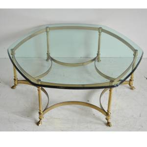Vtg Labarge Brass Hoof Foot Hollywood Regency Hexagonal Glass Top Coffee  Table