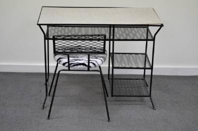 Superbe Vtg Mid Century Modern Wrought Iron Vanity Desk U0026 Chair Hairpin Salterini  Style