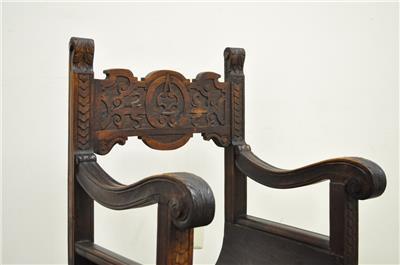 All ... - Antique Carved Oak Lions Head Face Curule Throne Chair Renaissance