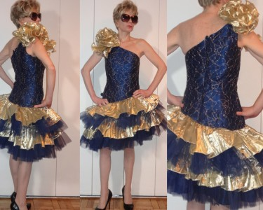 Fab Vtg Metallic Gold Blue Lace Tulle Hourgl W Golden Bow Tiers Party Tail Dress 2 3 Xs Rare True Vintage From The 80s