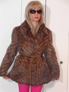 details about echt pelz dyed rabbit? fur jacket chevron striped animal print design sz 40e s 2 3 cu echtpelz c 2_3 #10