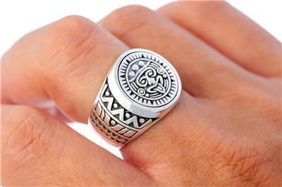 Patterned Ring Calendar Mayan Ring Mayan Calender Ring in 925 Sterling Silver