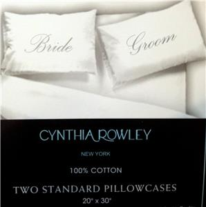 UPICK Cynthia Rowley 2 Standard White Pillowcases Sentiments Love Wedding Gift.