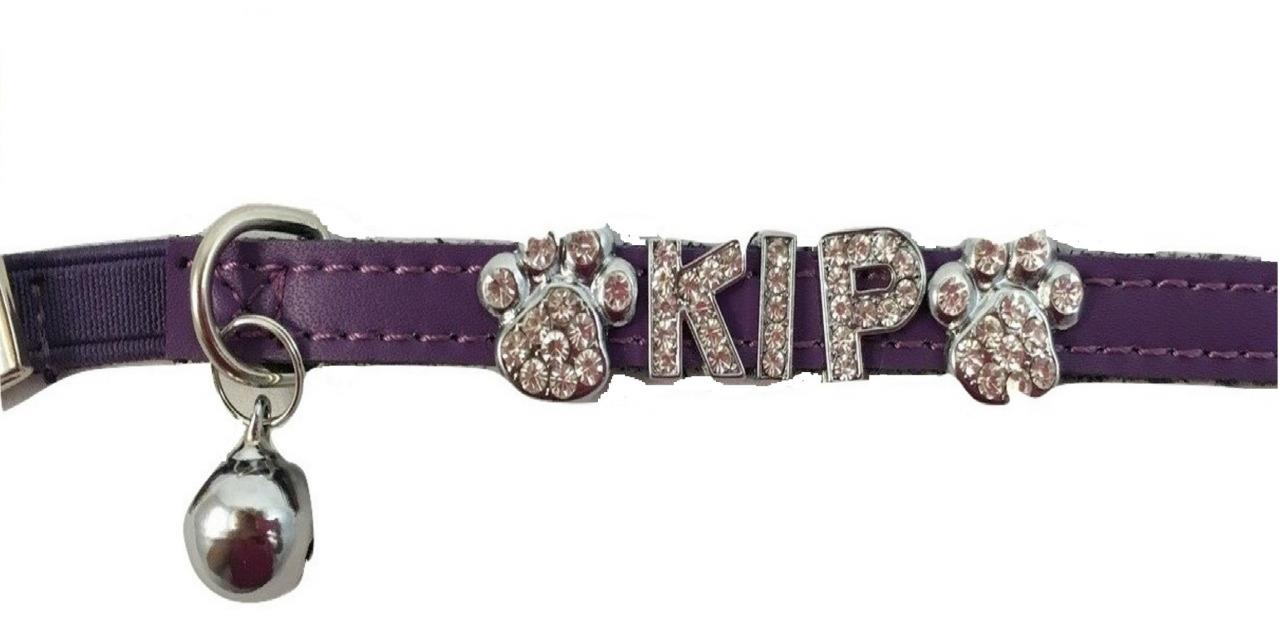 Leather Personalised DIY Bling Cat Puppy Kitten Collar - Purple