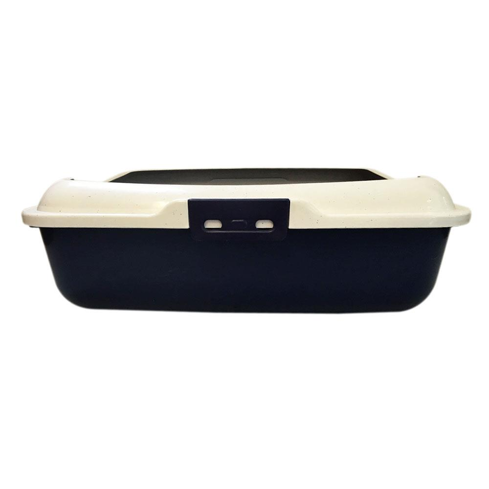 Large Cat Loo Litter Tray Pan Removable Rim - Dark Blue