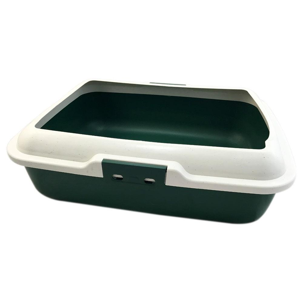 Large Cat Loo Litter Tray Pan Removable Rim - Dark Green