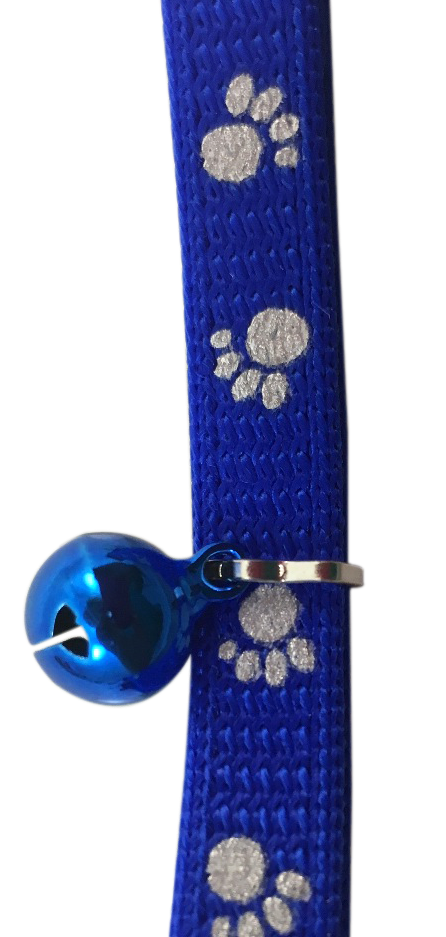 Catwalk Adjustable Nylon Reflective Paw Design Collar Cat Kitten Puppy - Blue