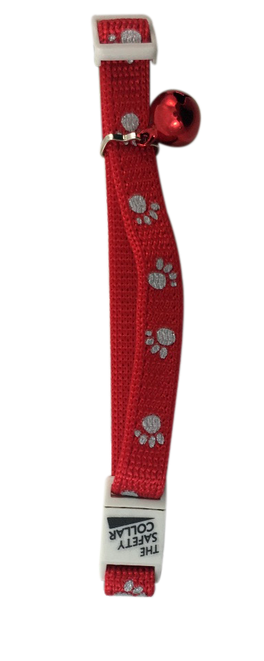 Catwalk Adjustable Nylon Reflective Paw Design Collar Cat Kitten Puppy - Red