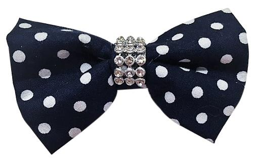 Polka Dot Bow Breakaway Collar Cat Kitten Dog Puppy - Navy